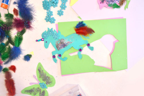 Glittery paper cutouts unicorn kids craft