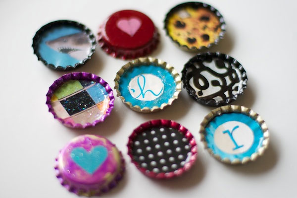 Creative Uses for Nail Polish - bottle cap magnets