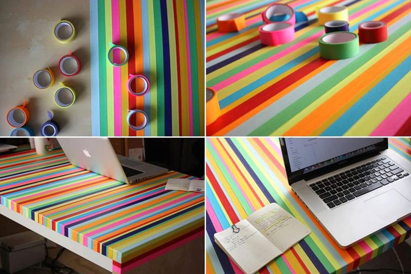 Make a colorful tape table with washi tape