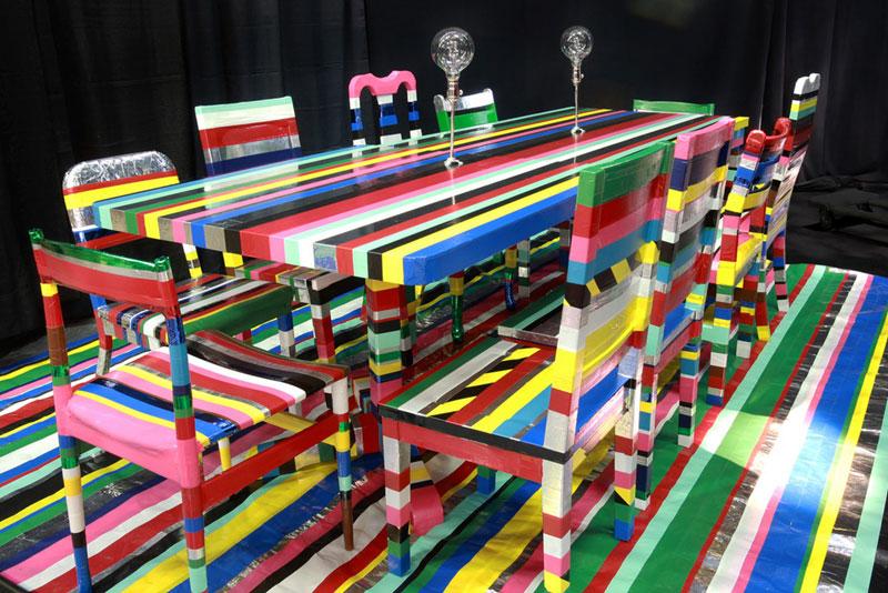 DIY rainbow duct tape table set - Mommy Scene