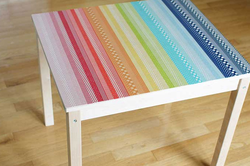 Colorful DIY washi tape table - Mommy Scene