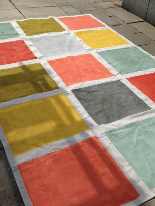 DIY Canvas Rug painted colorful squares and bold colors