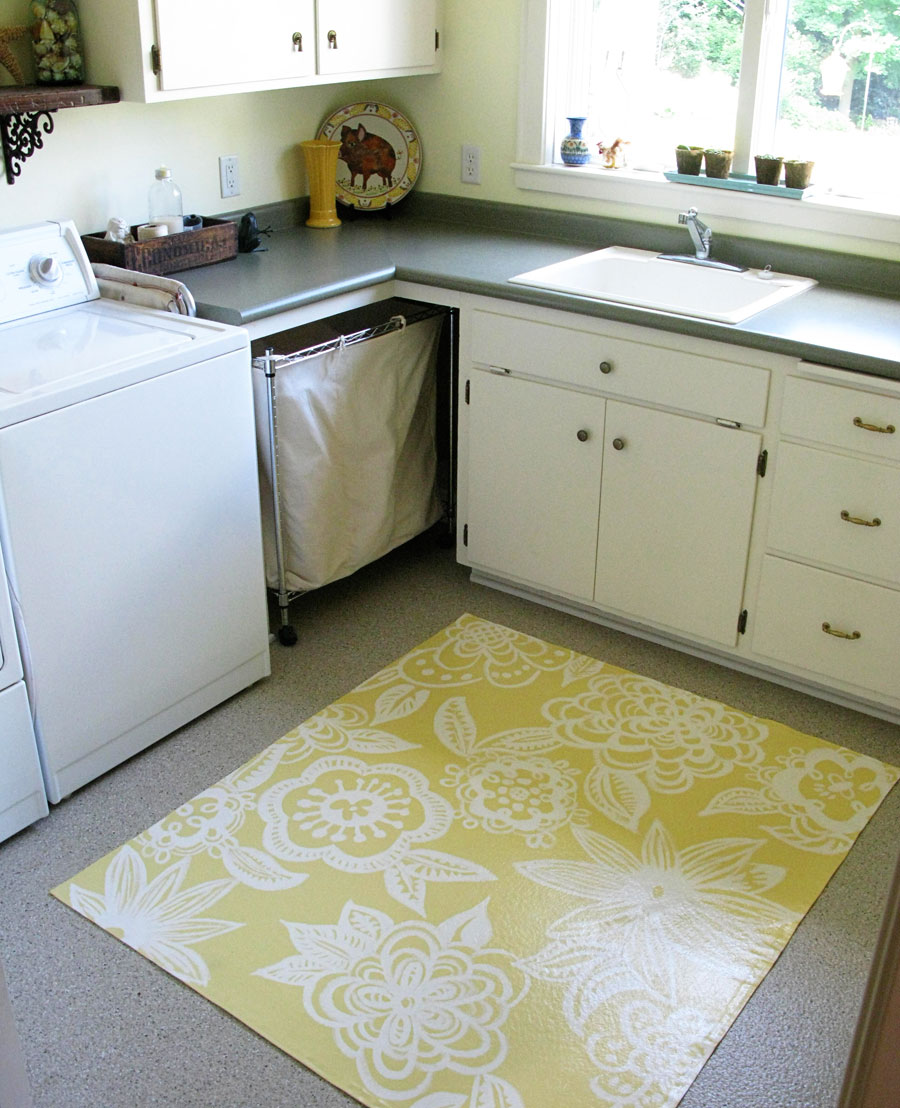 DIY Canvas Rug floral design on painters drop cloth