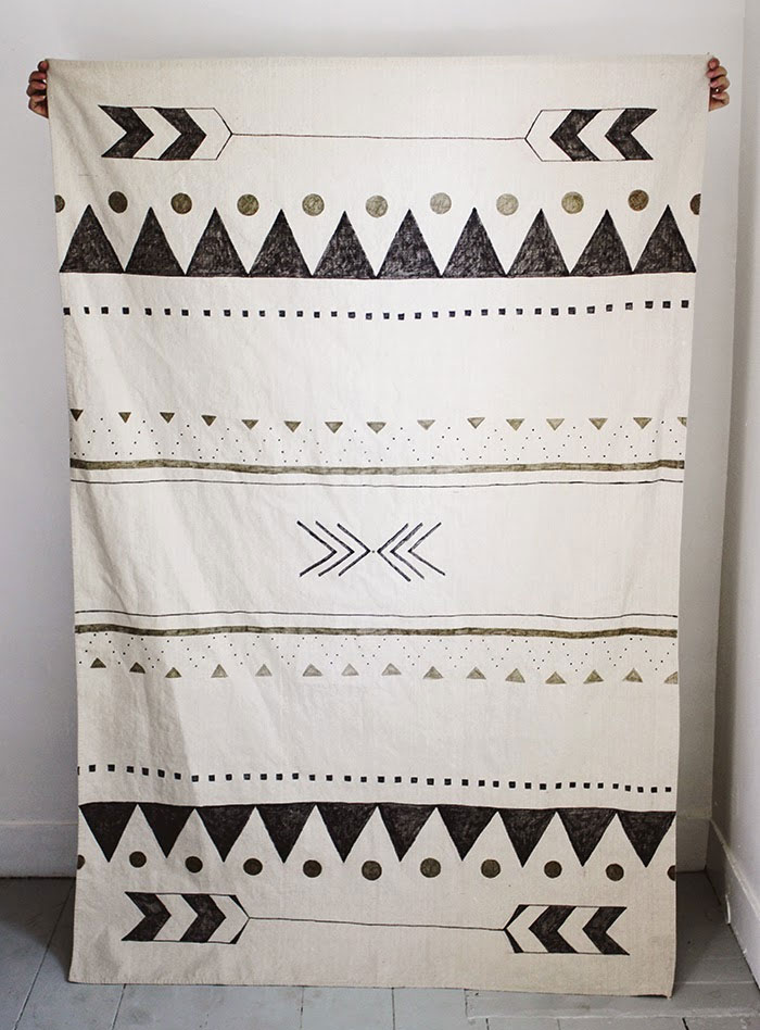 DIY Canvas Rug Painted Tribal Arrows