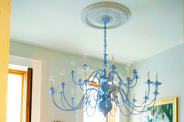 Light Blue DIY spray paint chandelier