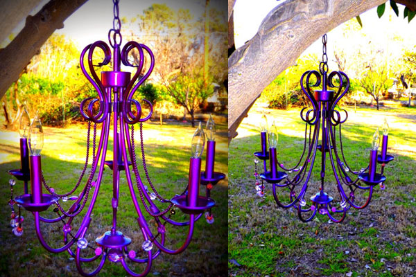 Purple Crystal DIY spray paint chandelier