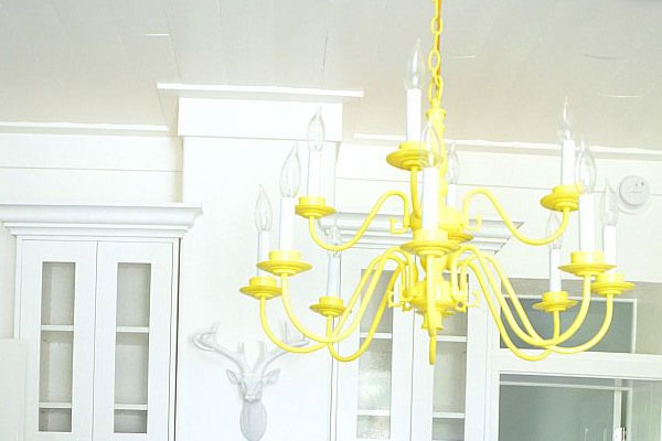 Yellow DIY spray paint chandelier