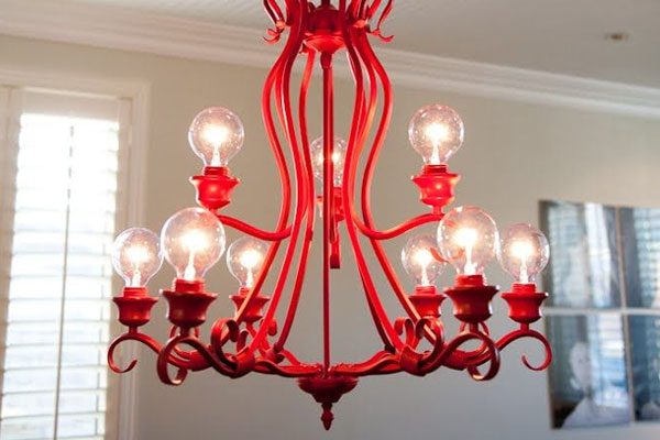Red Retro DIY spray paint chandelier