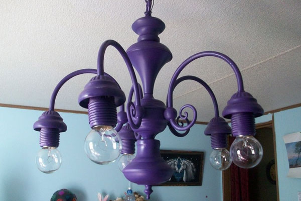 Purple DIY spray paint chandelier
