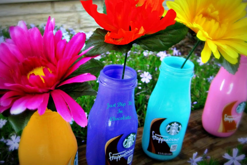 Frappuccino Bottle Flower Vases