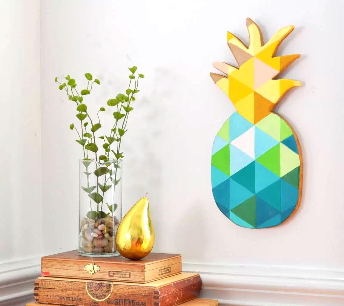 Colorful pineapple geometric wood wall art