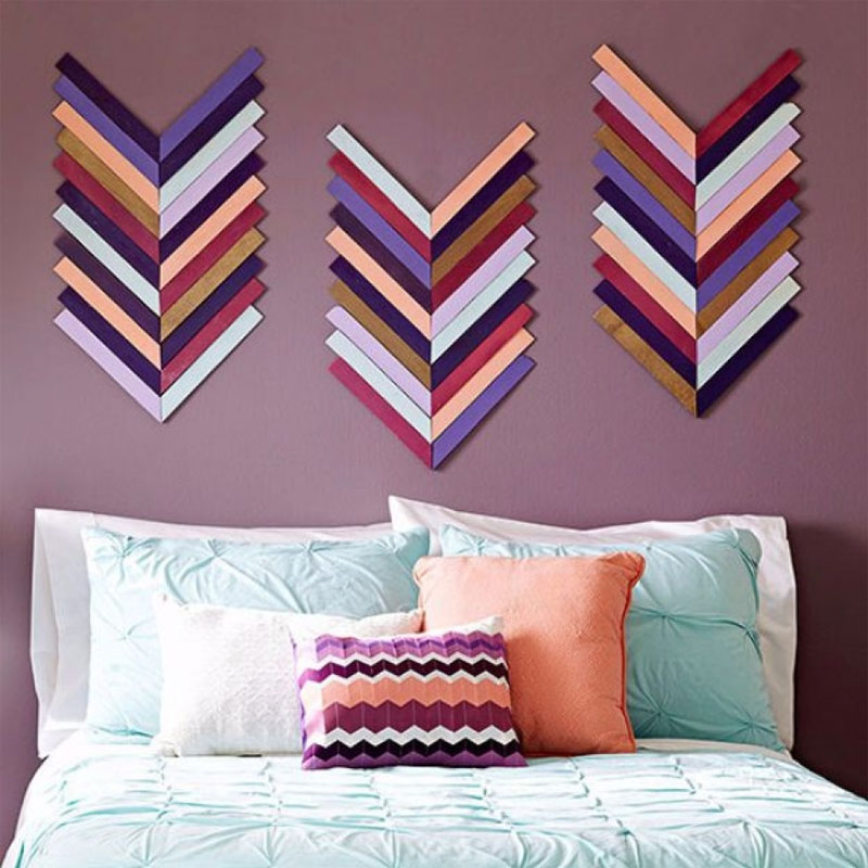 Colorful arrows wood wall art for bedroom or living space