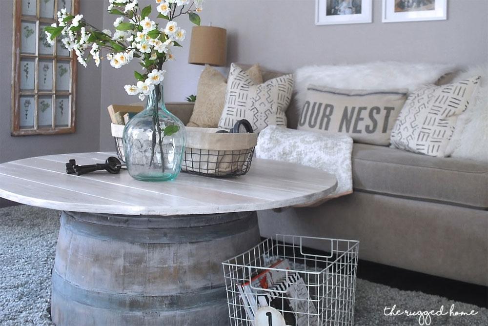 Wine barrel coffee table decorating idea