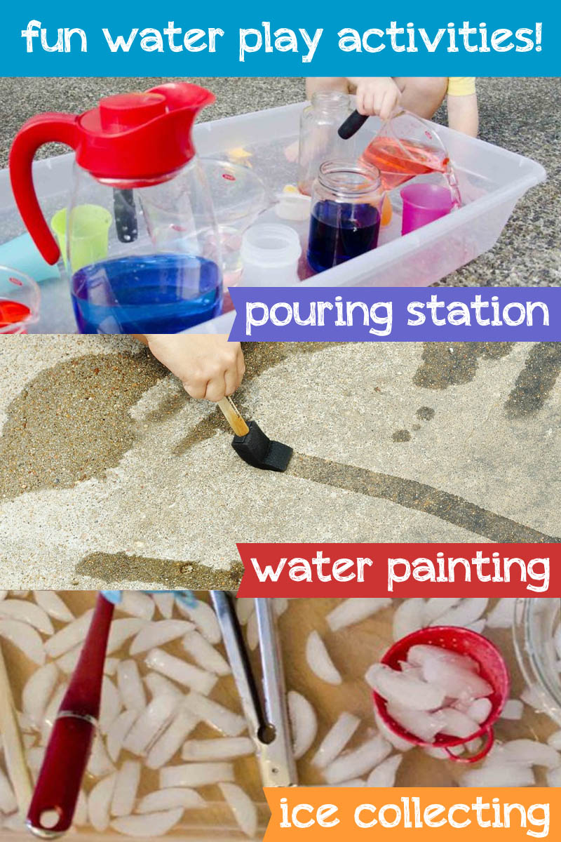 Water Play activities for kids, pouring station, water painting, ice collecting and more