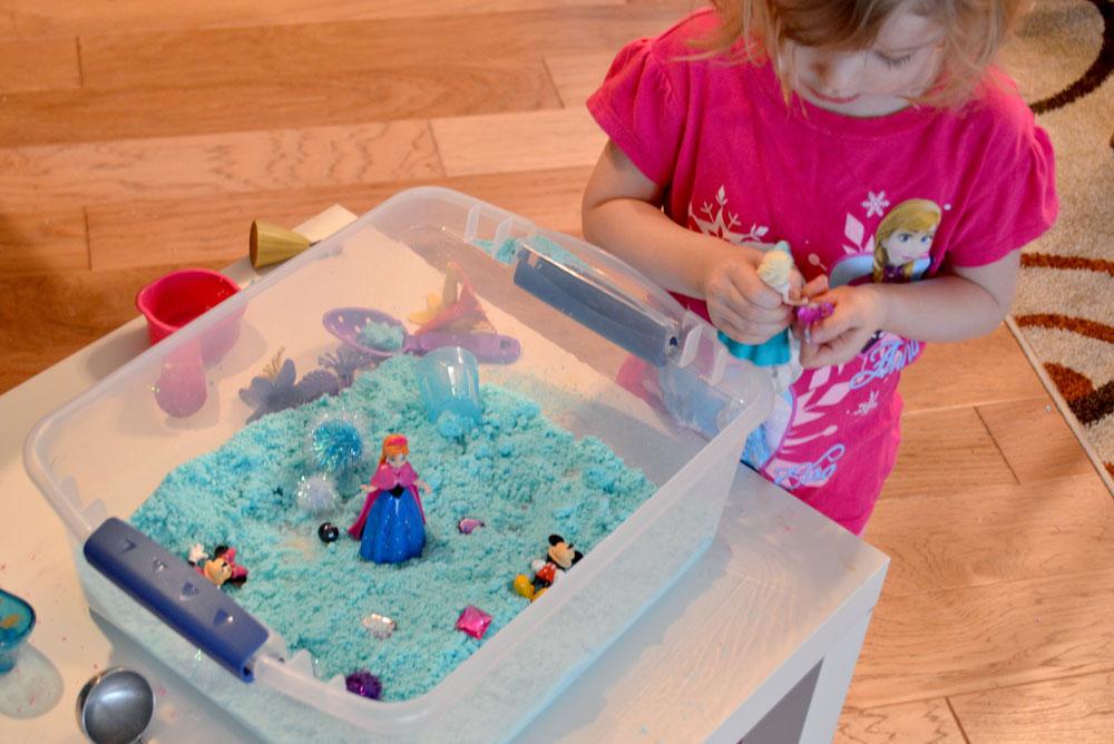 Mommy Scene - homemade sugar sand with sensory treasure box