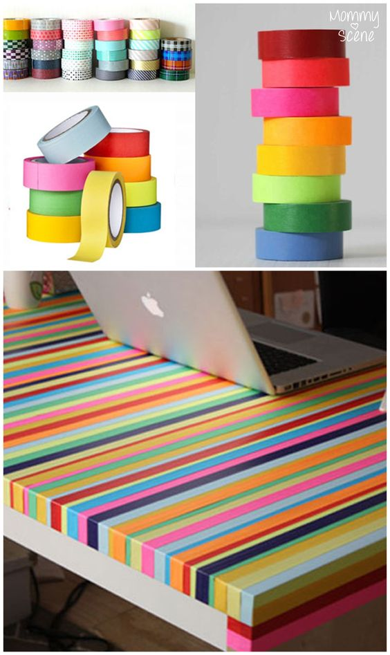 Make a rainbow table with Washi Tape - Mommy Scene