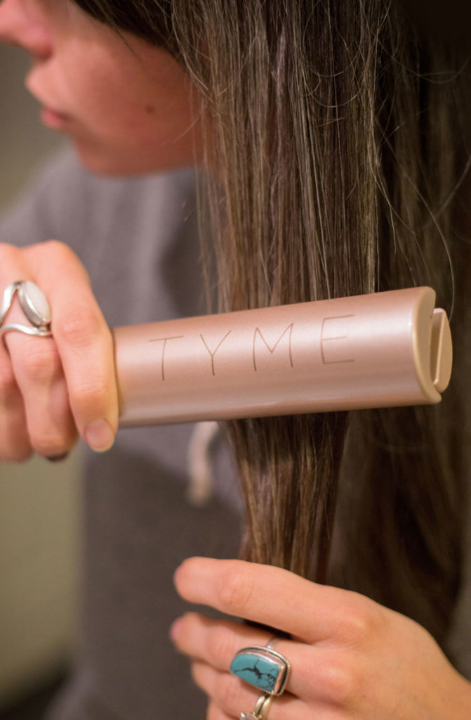 The Tyme Iron straightens hair from one angle - Mommy Scene