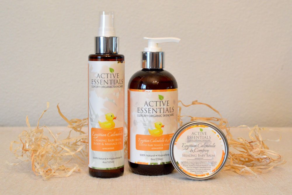 Active Essentials Organic Egyptian Calendula baby skincare products - Mommy Scene