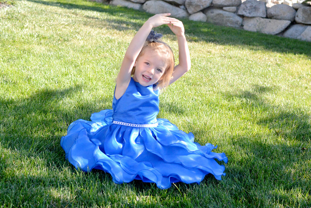 Just Unique Boutique girls' blue dress with ruffles and rhinestones - Mommy Scene