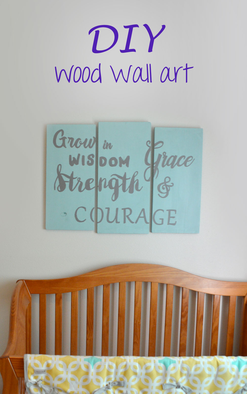 DIY wood wall art with custom lettering stencils for kid's room - Mommy Scene