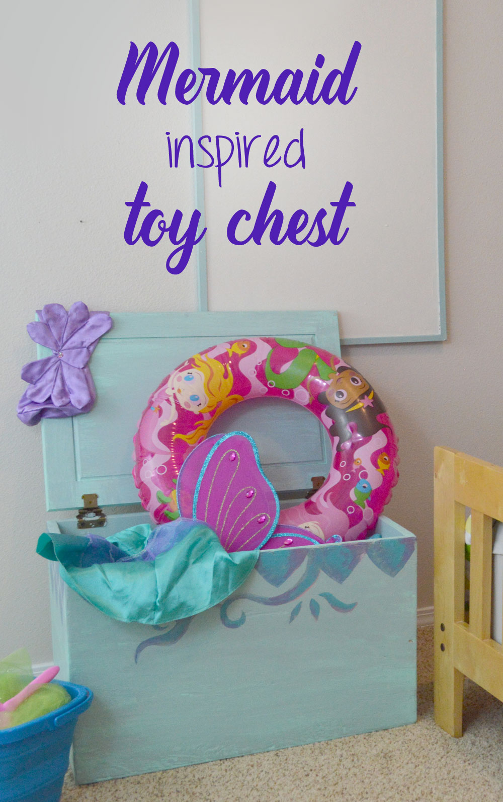 Mermaid inspired toy chest for a kid's room - Mommy Scene