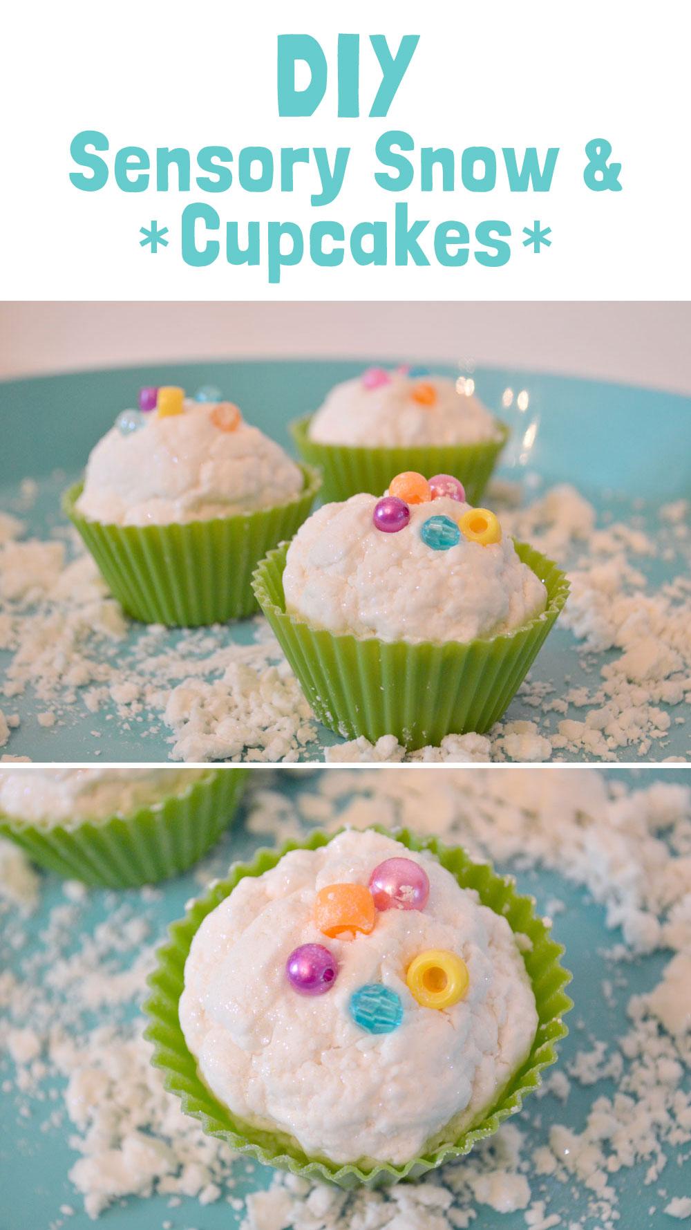 DIY Sensory Snow sparkly cupcakes - Mommy Scene