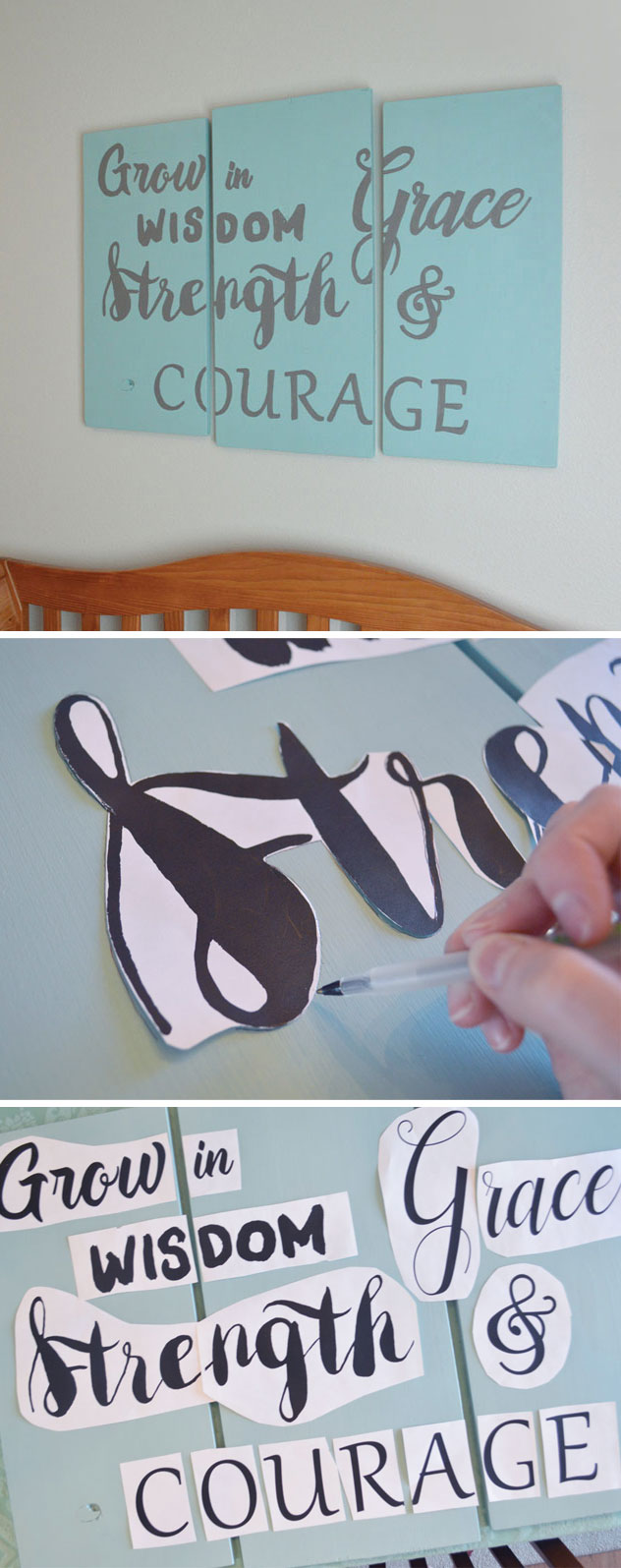 DIY homemade wood art sign with custom lettering stencils - Mommy Scene