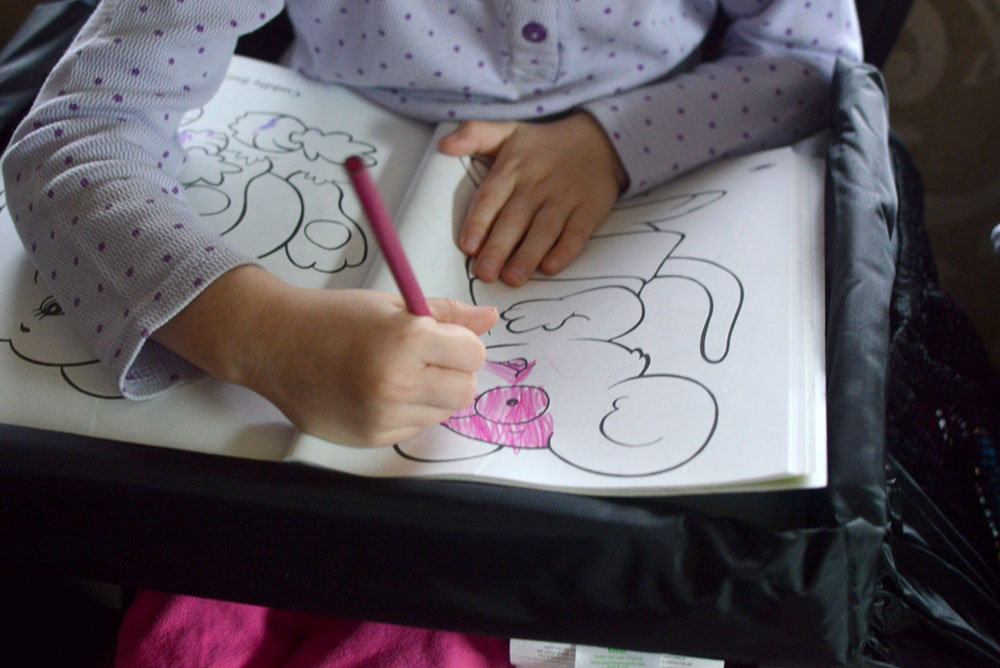 Star Kids Products Snack and Play Travel Tray is a great surface for coloring - Mommy Scene