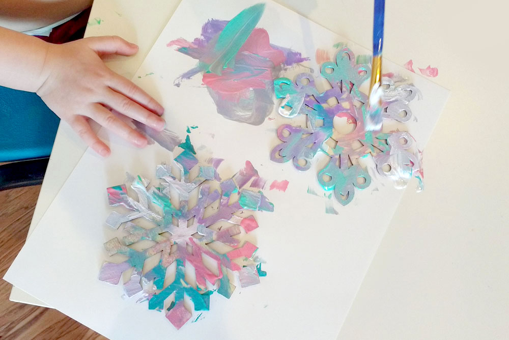 Painted snowflakes kids craft