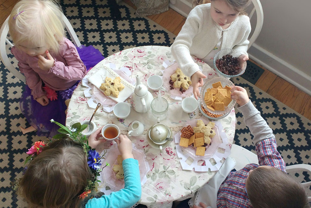 Yummy snowflake scones kids tea party on a winter day