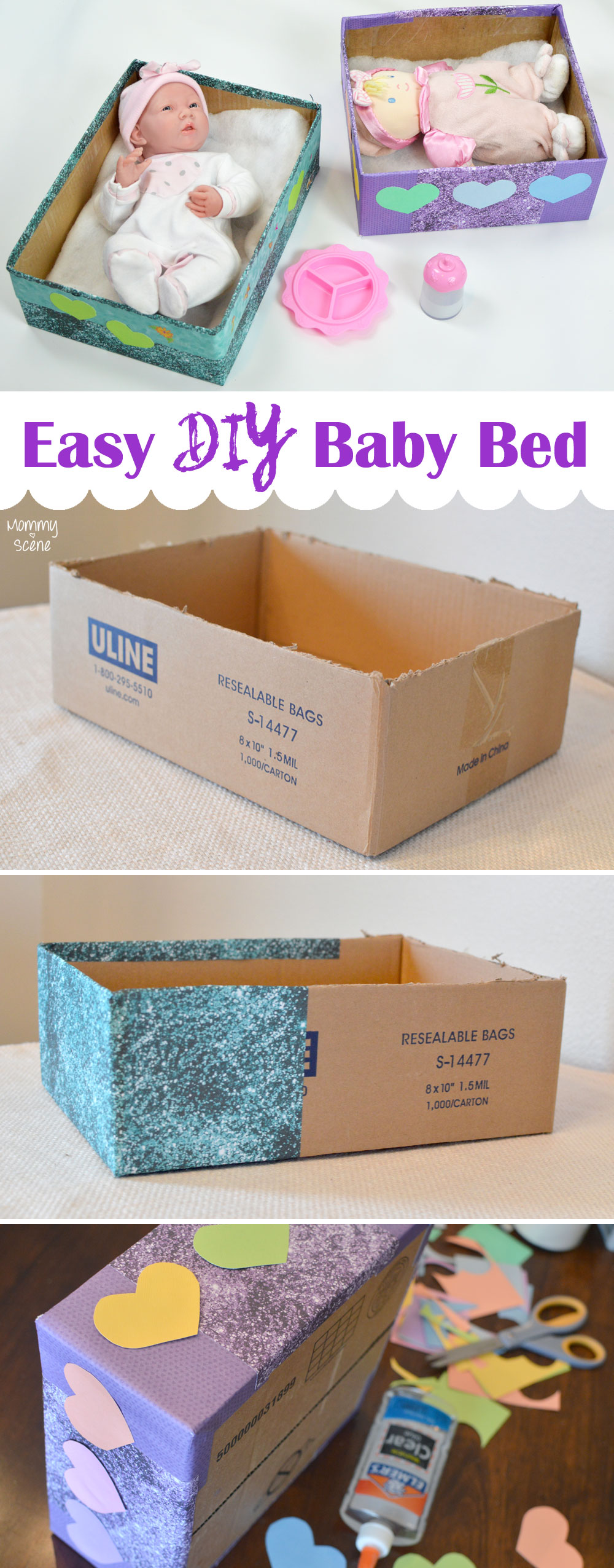 Make a homemade baby doll bed from a cardboard box - Mommy Scene