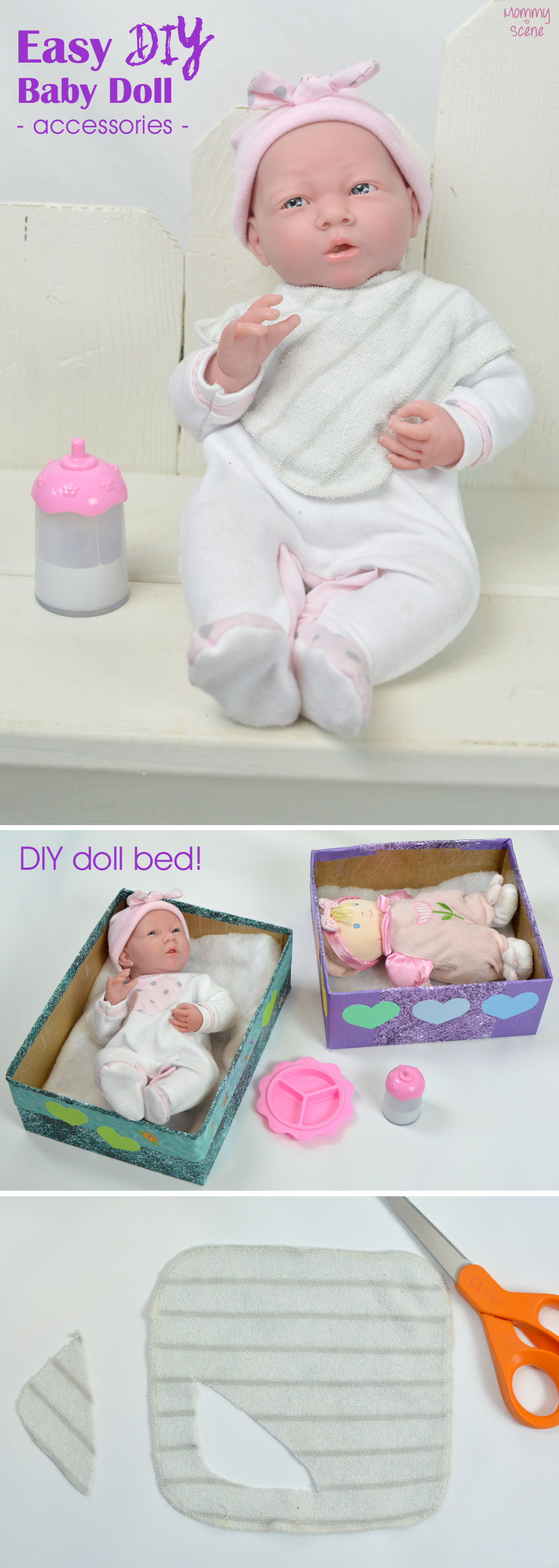 How to make a DIY baby doll bib from a wash cloth - Mommy Scene