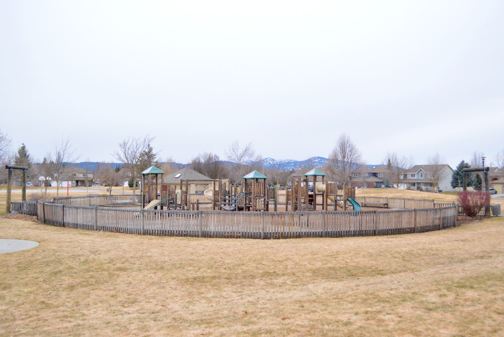 Bluegrass park and playground in Coeur d'Alene Idaho