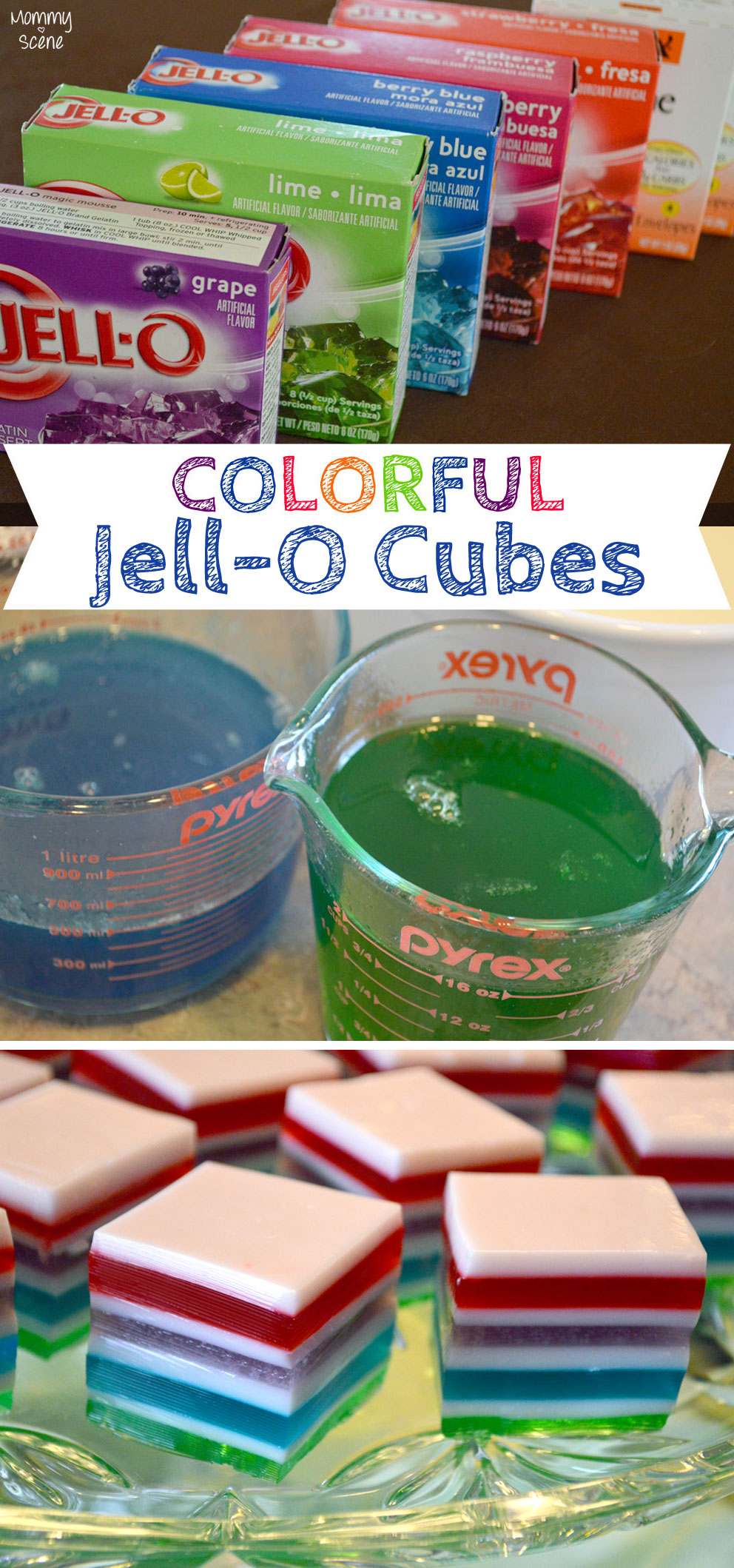 Kid's St. Patrick's Day Shamrock Party Ideas and DIY Rainbow Jell-O Cubes