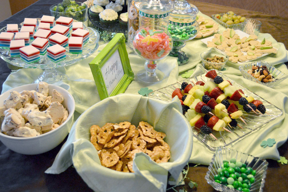 Kid's St. Patrick's Day Shamrock Party snack ideas, fruit skewers, and rainbow Jell-O cubes - Mommy Scene