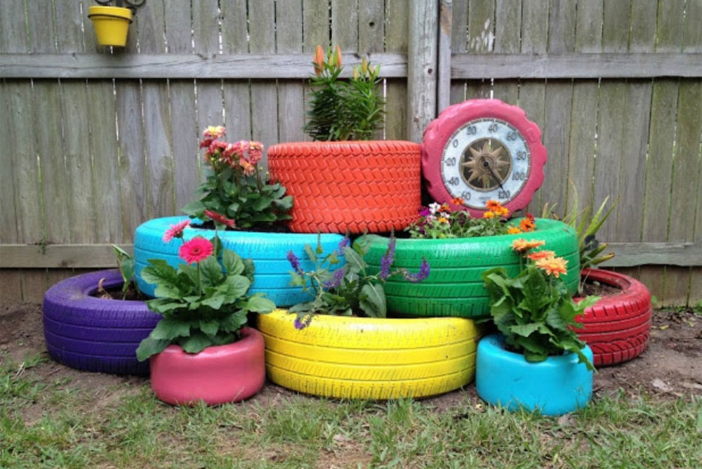 Garden Planter from Old Tires