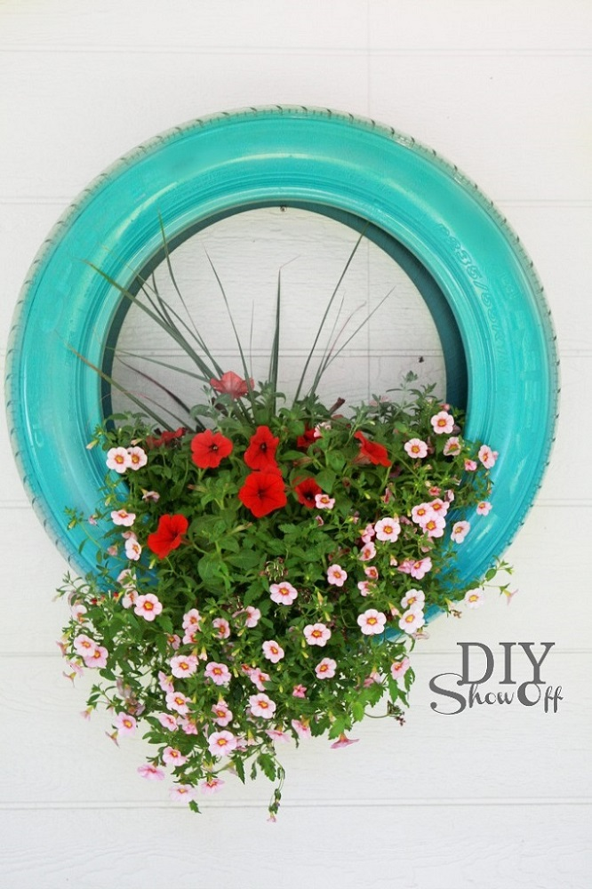 Hanging Tire Flower Planter