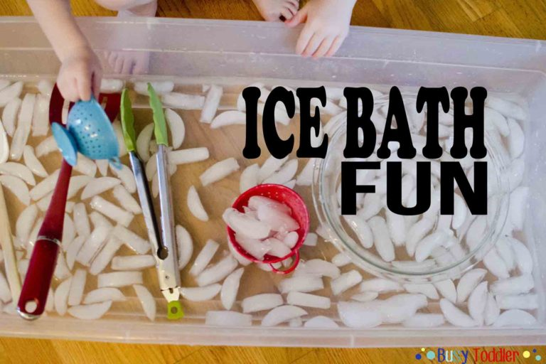 7 Water Play Activities For Toddlers - Mommy Scene - Ice Bath Fun