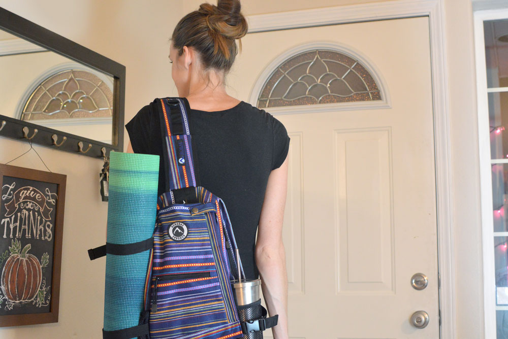 Moms' Christmas Gift List - Aurorae Yoga Gear printed yoga mats and sling backpack - Mommy Scene