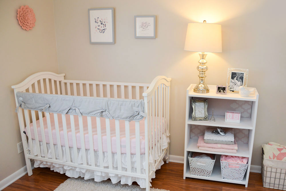 Baby Girl Nursery Tour - Mommy Scene - White crib in a pink and gray baby room