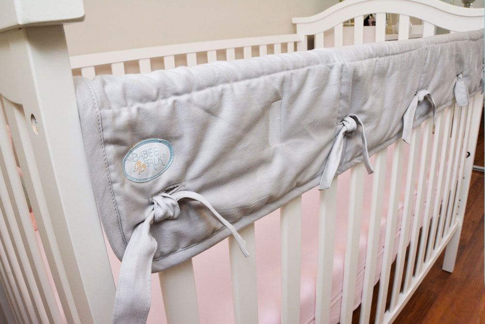 Baby Girl Nursery Tour - Mommy Scene - Babee Talk Gray Organic Crib Rail Cover