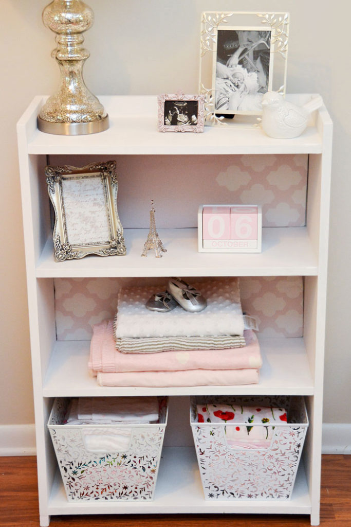 Baby Girl nursery tour cute bookcase - Mommy Scene