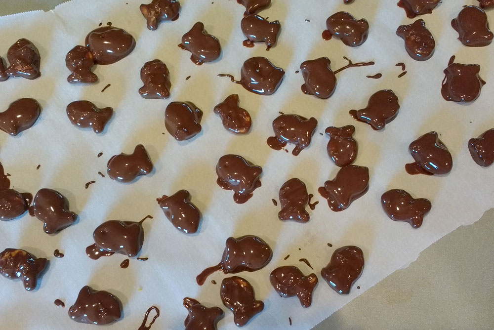 Let your chocolate covered goldfish crackers dry - Mommy Scene