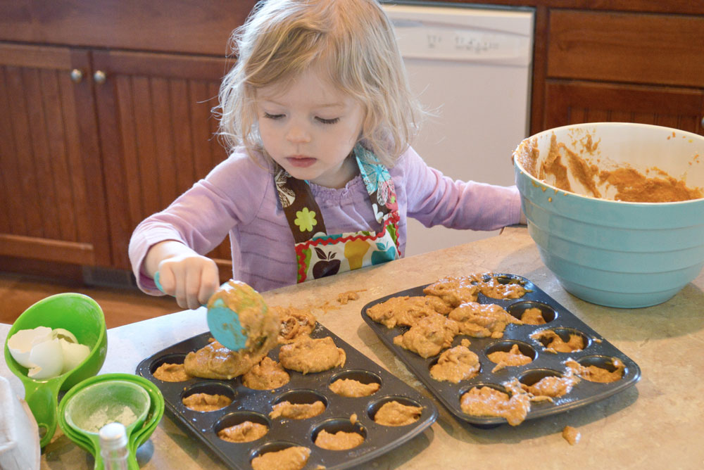 Homemade Pumpkin Coconut Muffins baking with kids - Mommy Scene