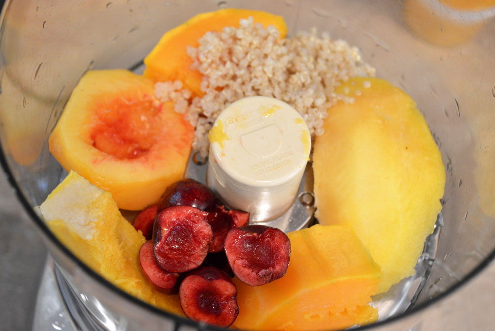 DIY Baby Food - Acorn Squash, Peach, Cherry, Quinoa