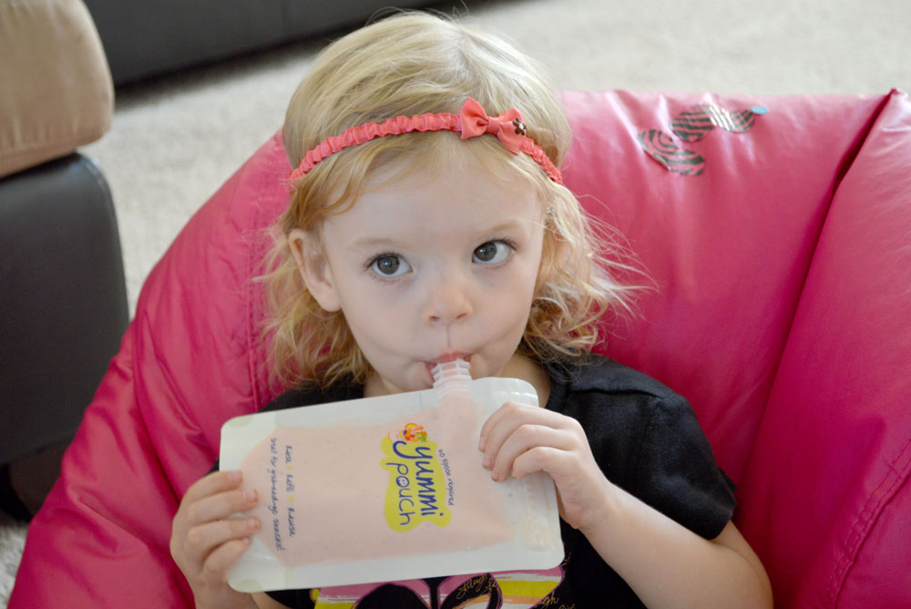 Healthy smoothies in a Yummi Pouch reusable food pouch - Mommy Scene