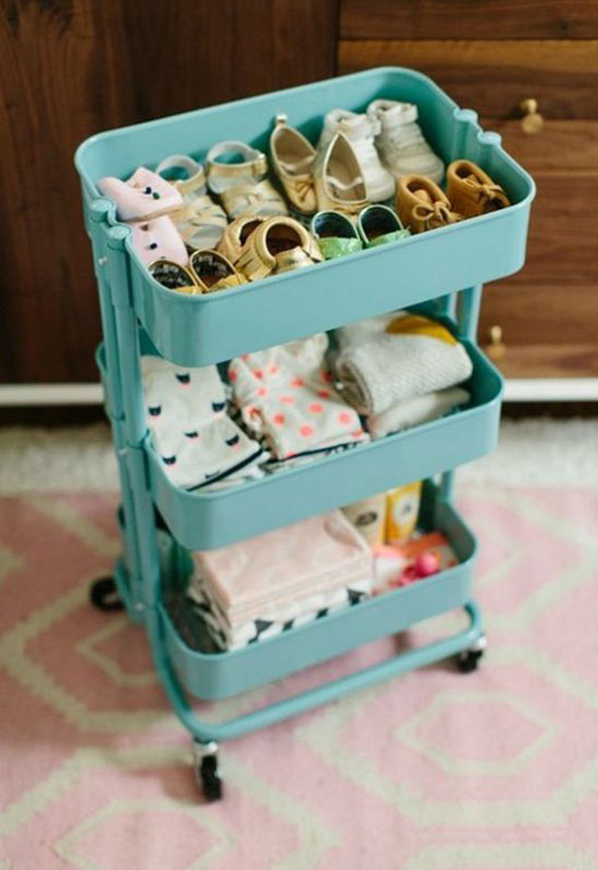 9 Ways to Organize Baby Clothes baby clothes cart - Mommy Scene
