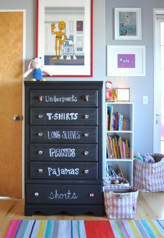 How to organize baby clothes with labeled dresser drawers
