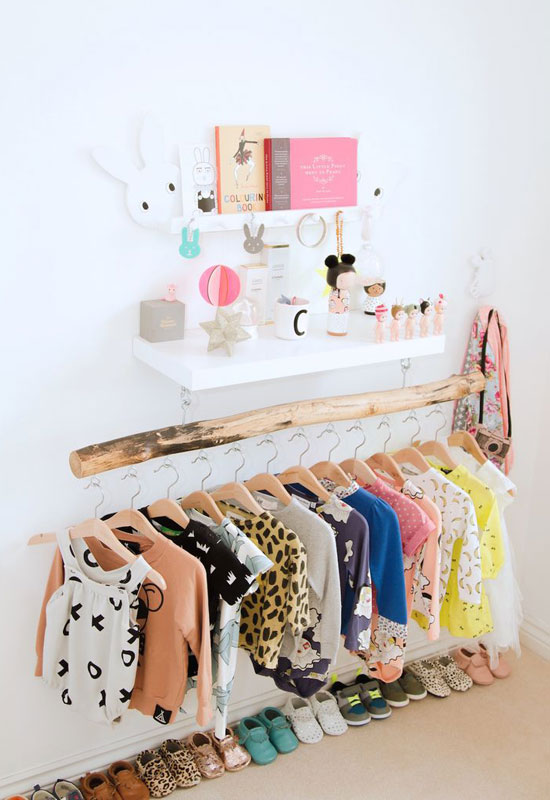 How to organize baby clothes wooden branch clothing rack