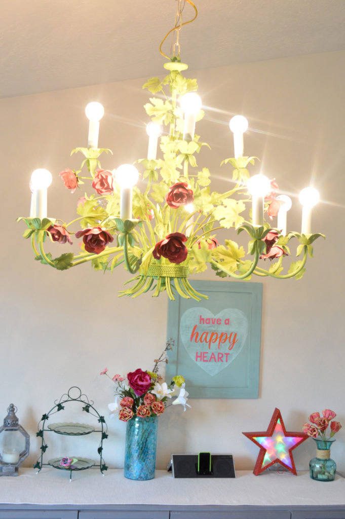 Recycled modern metal rose chandelier - Mommy Scene